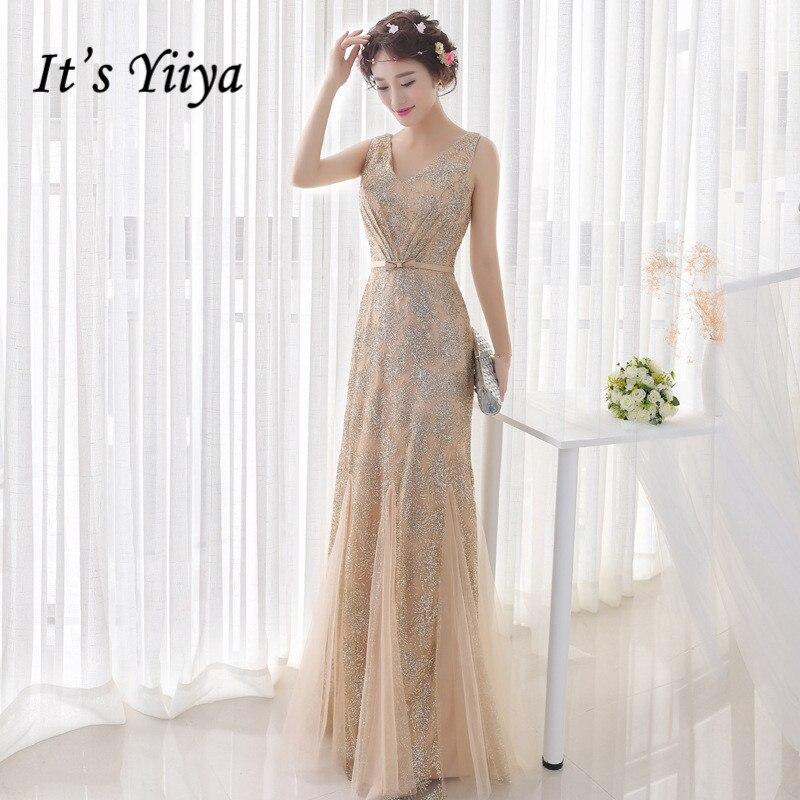 It's Yiiya Luxury Evening Dress Gold Shiny Ruched Mermaid Formal Gowns Sexy V-neck Evening Dresses Long Abiye Gece Elbisesi K193