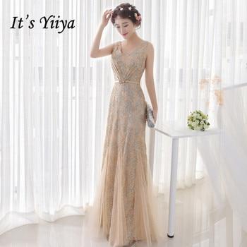 It's Yiiya Luxury Evening Dress Gold Shiny Ruched Mermaid Formal Gowns Sexy V-neck Evening Dresses Long Abiye Gece Elbisesi K193 formal dresses mermaid evening dress long 2019 backless robe de soiree abiye gece elbisesi