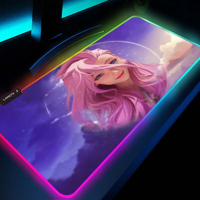 Pc Kawaii Girl Gamer Gaming Decoration KDA League of Legends Seraphine Akali Kayn Lol Ashe Rgb Mouse Pad Led Gamers Accessories 3