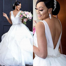 Booma African Ball Gown Wedding dresses for Women Sexy V-beck Plus size White Ivory Bride Dresses High quality