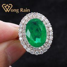 Wong Rain Luxury 100% 925 Sterling Silver Created Moissanite Emerald Gemstone Wedding Engagement Ring Fine Jewelry Wholesale
