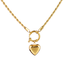 Stainless Steel Necklace Long Chain Necklace For Women Twist Chain Necklace Hollow Heart Charms Pendant Necklace Jewelry Gift