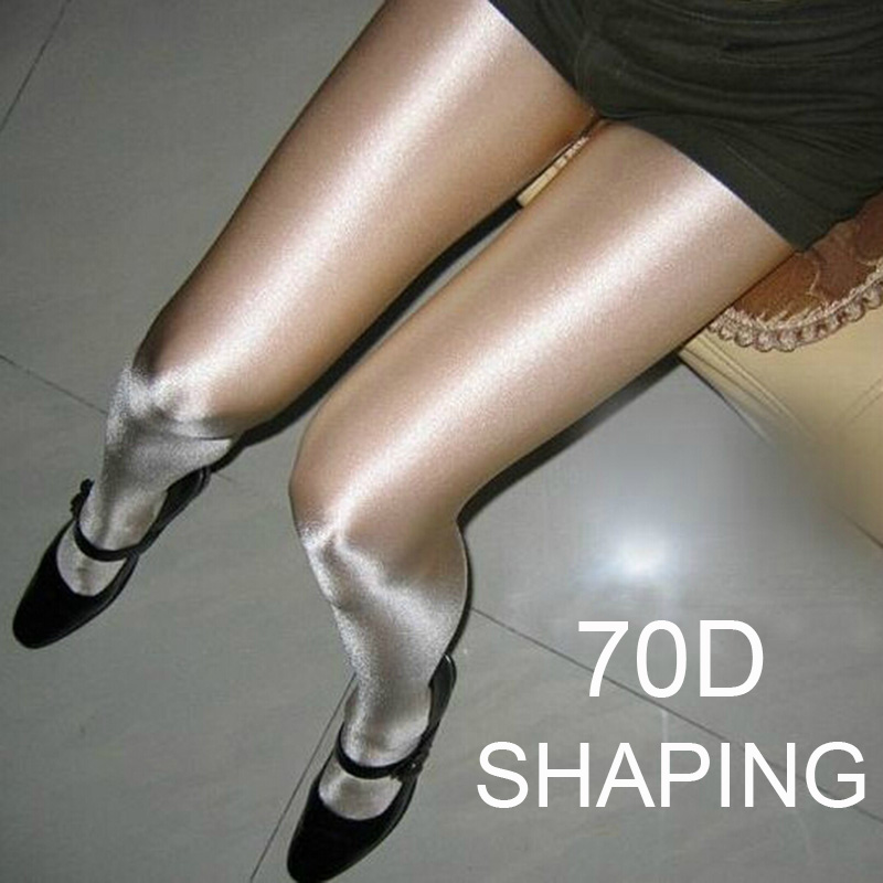 70D Women Sexy Oil Shiny Tights Satin Shape Stockings Sparkle Pantyhose Female Shaping Glossy Stockings Nightclub Dance Fitness