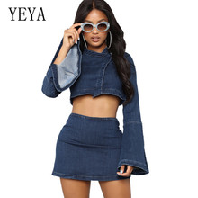 YEYA Solid Vintage Two Pieces Sets Bodycon Bandage Denim Dress Long Sleeve Sexy Button Mini 2 for Women