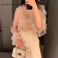 2019 New Spring Fashion Women's Sweet Bead Gauze Lace Shirt Two piece Set Long Sleeve Lady Princess Perspective Women Tops