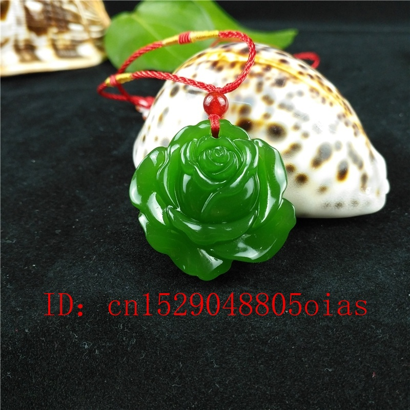 Natural Green Hetian Stone Rose Carved Jade Pendant Necklace Chinese Jadeite Jewelry Charm Reiki Amulet Gifts For Women Men