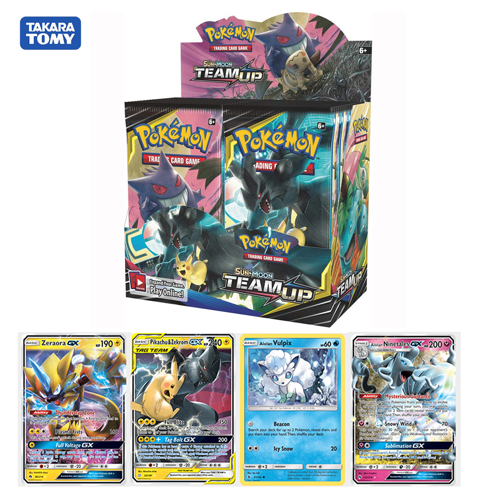 324pcs Pokemon Sun & Moom Team Up For Battle Alolan Vulpix Ninetales GX Booster Display Box Trading Cards Game Kids Toys