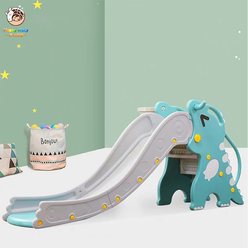 Baby Slide Indoor Small Playground with Basketball Box Long Thickened Multifunctional Cute Dragon Slide for Children N01