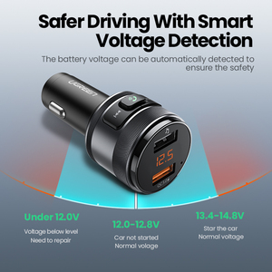 Image 5 - UGREEN USB Car Charger FM Transmitter Quick 3.0 Charge Fast Charger for Xiaomi Samsung iPhone Huawei QC3.0 Charger Car Charging