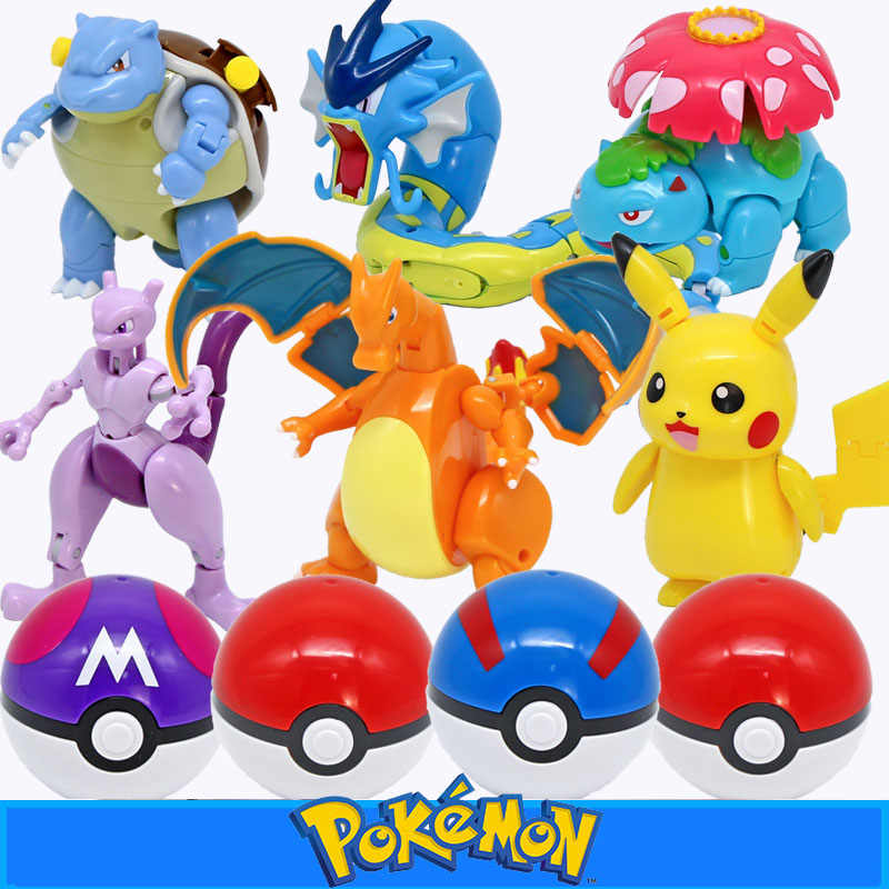 TAKARA TOMY Pokemon Deformasi Pokeball Figure Mainan Mengubah Pikachu Charizard Squirtle Action Figure Model Boneka Anak Hadiah