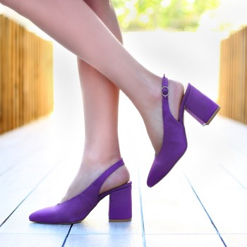 Mst-028 Purple Suede Women high heels brand women pumps shoes pointed toe buckle strap summer sexy party