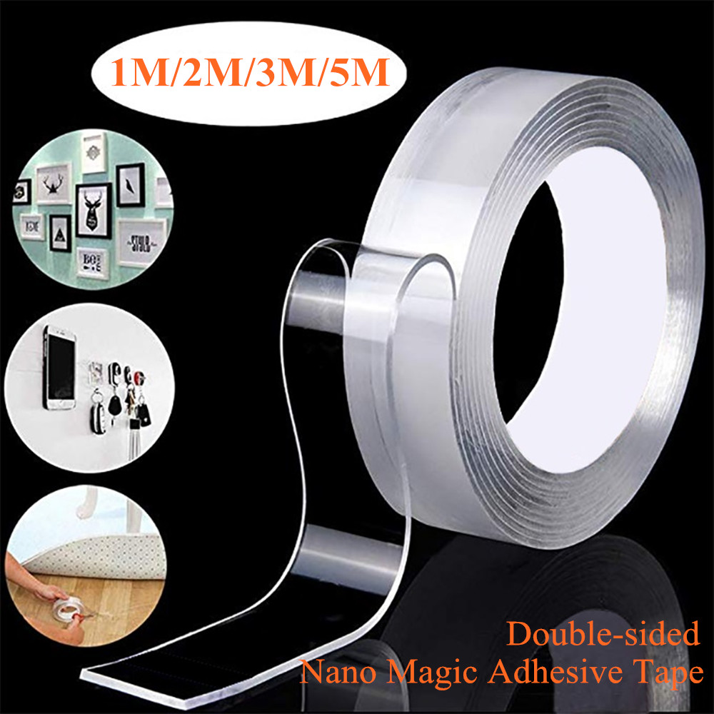 Transparent Reusable Double Sided Tape Nano Traceless Acrylic Magic Tape 1M/2M/3M/5M Cleanable Waterproof Adhesive Tape