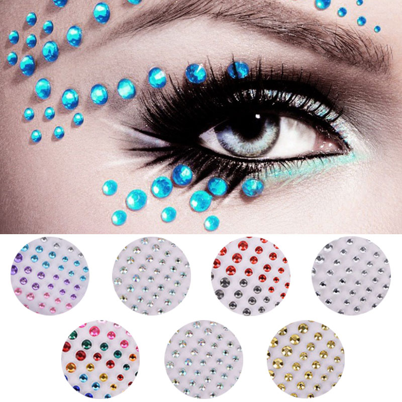 Face Jewels Crystal Temporary Tattoo Sticker Eyes Festival Party Eyebrow Body Glitter Stickers Flash Rhinestones Decoration