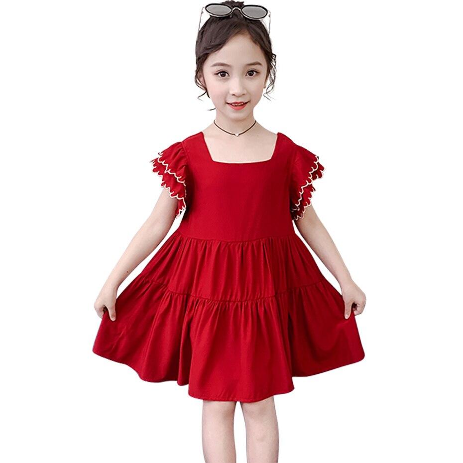 Vestido para meninas pétala manga meninas vestido de festa estilo casual crianças vestido de verão trajes para meninas 6 8 10 12 14