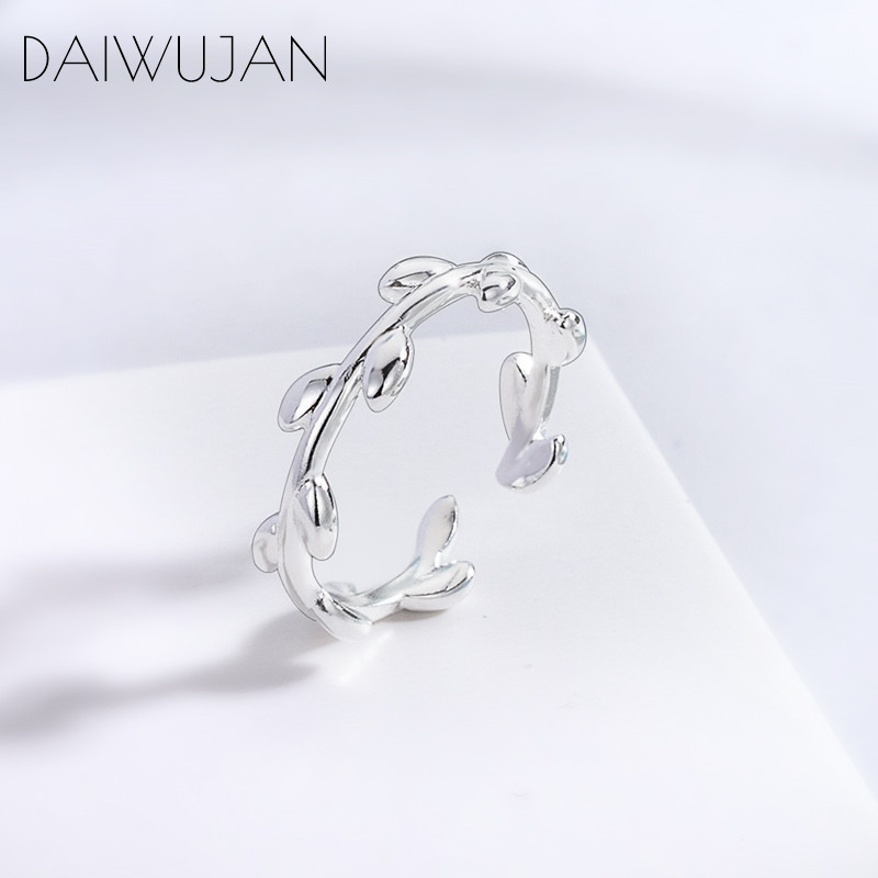 DAIWUJAN Minimalist 925 Sterling Silver Olive Leaves Branch Opened Ring Adjustable Rings For Women Girls Jewelry Gift