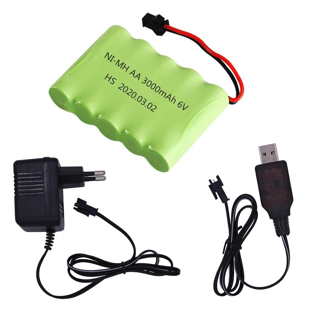 Никель-металлогидридная батарея 6 в 3000 мАч SM разъем M модель с зарядным устройством для радиоуправляемых игрушек автомобилей танков роботов...