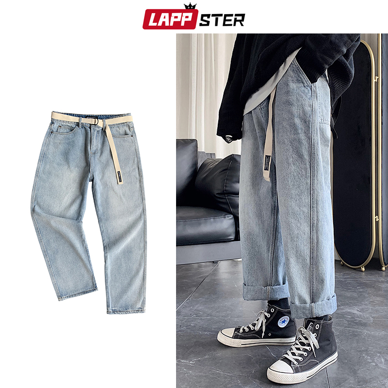 LAPPSTER Men Blue Jeans Blue Free Belt 2020 Straight Harem Pants Man Japanese Streetwear Hip Hop Denim Male Loose Wide Leg Pants