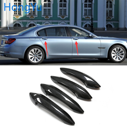 for BMW 7 series F01 F02 F03 F04 2009-2015 Auto Exterior Carbon Fiber Made Door Handle Cover Sticker Decorations Overlay Trim