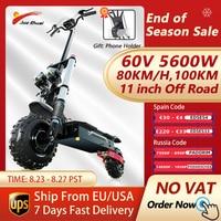 STOCK Europeo 60V 5600W eléctrica Scooters adultos 80 km/h velocidad Longboard aceite de suspensión freno doble libre kick scooter 11 pulgadas neumáticos