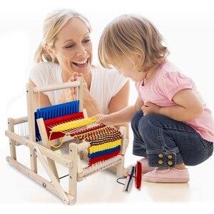 Image 5 - עץ מסורתי אריגת נול ילדי צעצוע מלאכת מתנה חינוכית עץ אריגת מסגרת סריגה מכונה