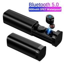 Mini auriculares TWS, inalámbricos por Bluetooth 5,0 + EDR, Auriculares deportivos estéreo 3D impermeables con micrófono Dual y emparejamiento automático