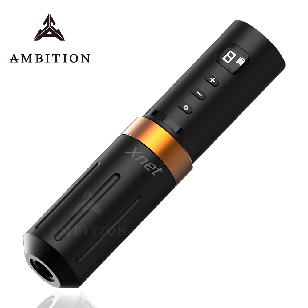 Ambition Pre-sale Premium Wireless Tattoo Pen Machine Coreless Motor Stable 2A Output Professional Tattoo Equipment LCD Display