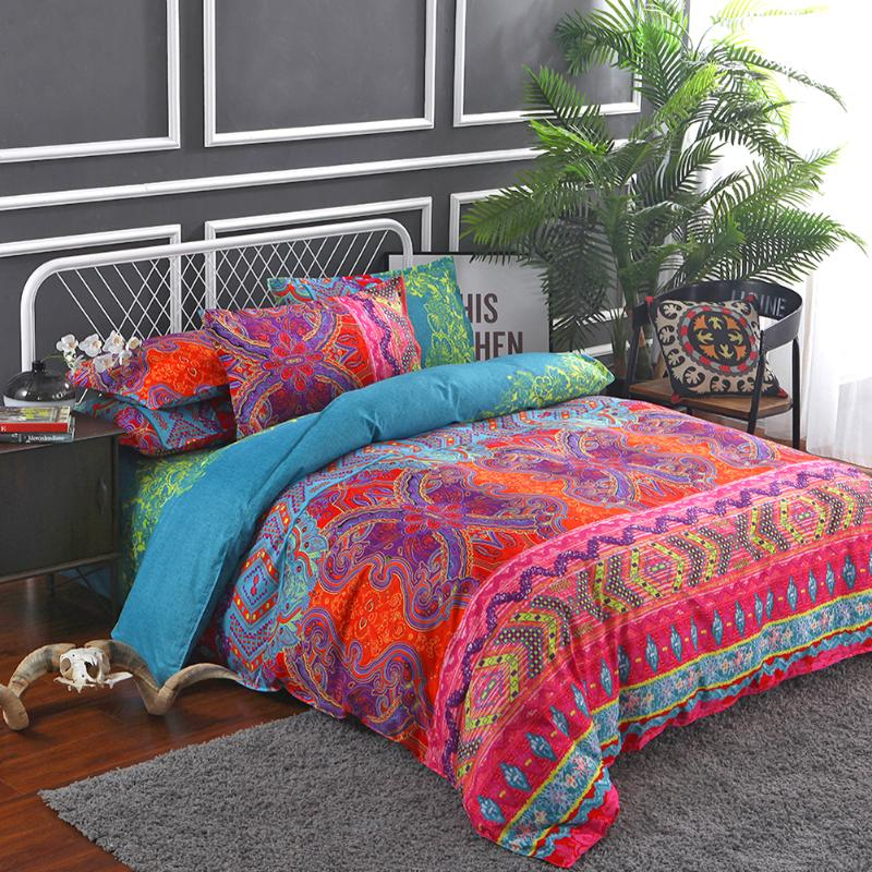 Polyester Fiber Ethnic Style Quilt Cover Pillowcase Mandala Printing Comforter Environmental Protection Textile Bedding Set
