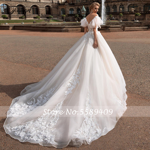 Image 2 - Traugel V Neck A Line Lace Wedding Dresses Applique Off Shoulder Backless Flower Bride Dresses Long Train Bridal Gown Plus Size