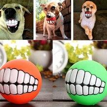 2019 pelota duradera para perros y gatos, pelota para los dientes con sonido, juguete de PVC para masticar, divertido, sonriente, juguete para perros, regalo para perros, sonido chillón, juguete para perros