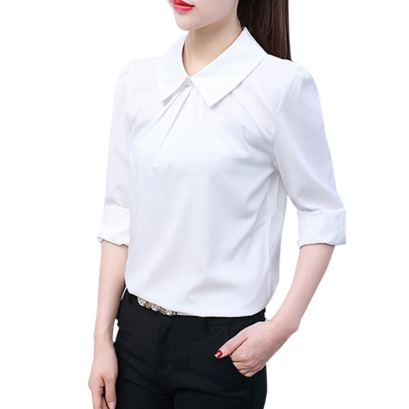 Women White Shirt Casual Blouse Formal Blouse Shirts For Office Ladies Fashion Blusas NS