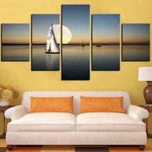 5 piezas de pintura en lienzo con barco de pintura de mar y el póster del sol imagen de paisaje para pared de la habitación del h