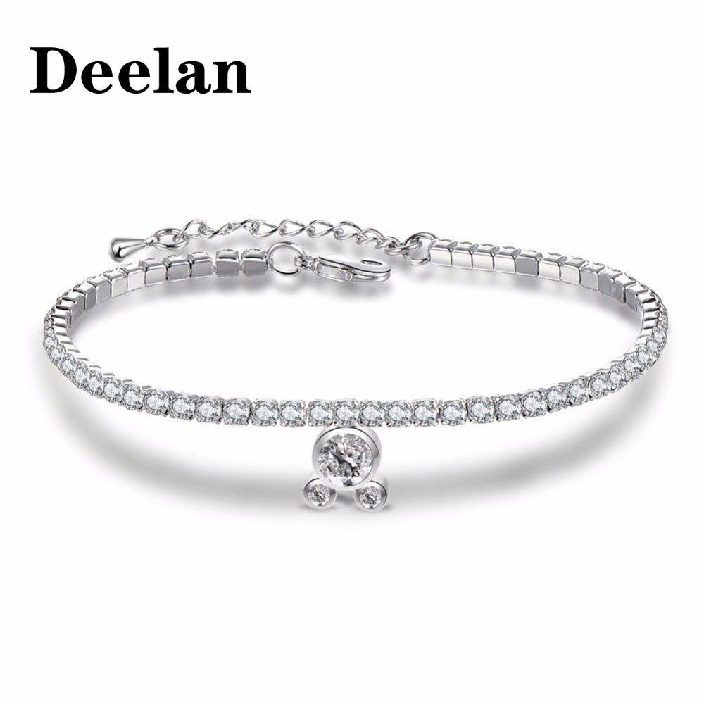 Trendy Single Row Cubic Zirconia Sliding Bracelet Bangle Valentine Day Jewelry L