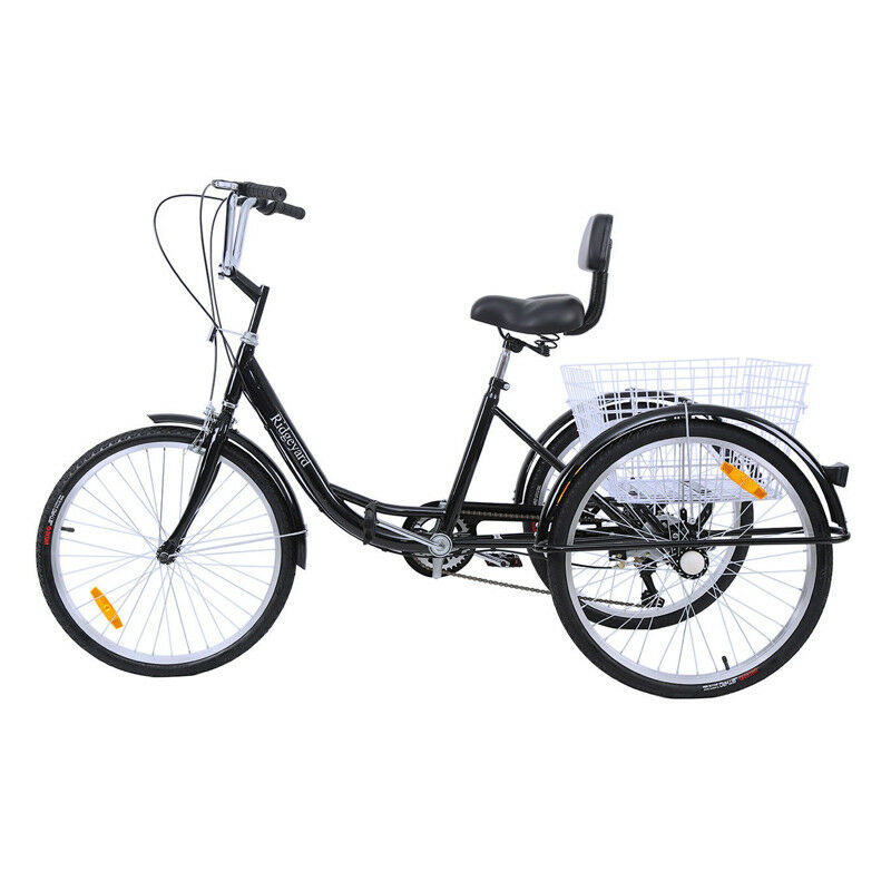 3 Wheels 24 Inch Adult Tricycle Tricycle Suspension 7 Speed Outdoor Trike