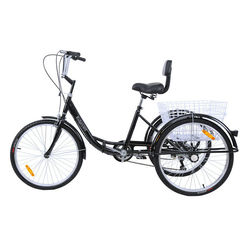 Yonntech adulte 24 3 roues Tricycle vélo Shimano 7 vitesses Tricycle vélo croisière