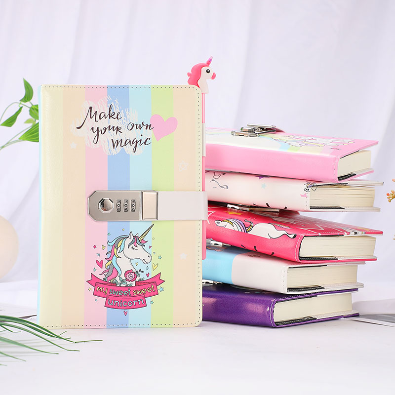 Image 2 - A5 Cute Unicorn Thicken Password Notebook with Code Lock Refillable Planner Daily Memos Kawaii Girls Diary Notebook Journal GiftNotebooks   -