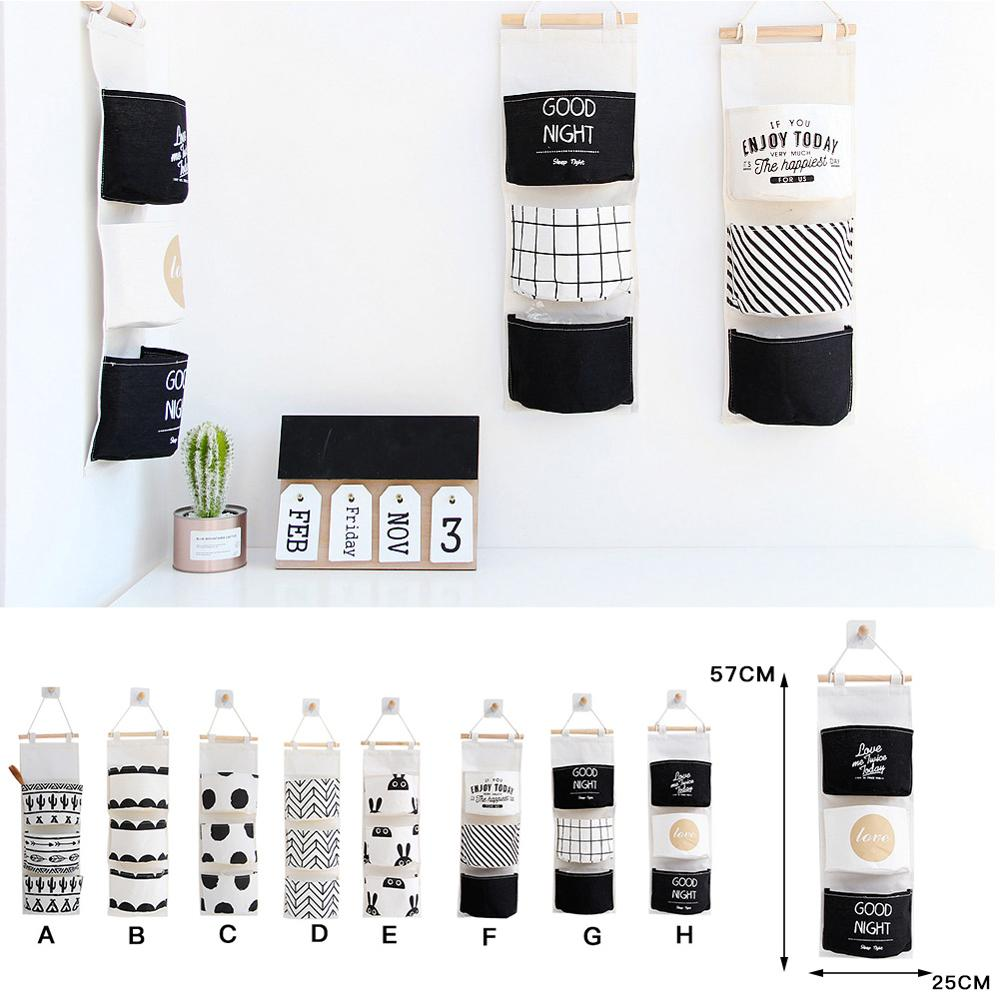 Over The Door Closet Organizer Wall Hanging Storage Bags With 3 Pockets For Bedroom, Kitchen And Bathroom