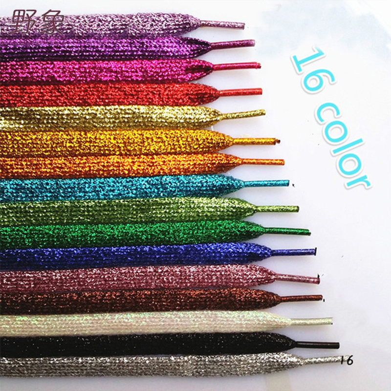 Colorful  Shoelaces  Sneakers Metallic Glitter Shiny Gold Shoelace Silver Flat Shoe Laces Sports Running Lace Dentelle