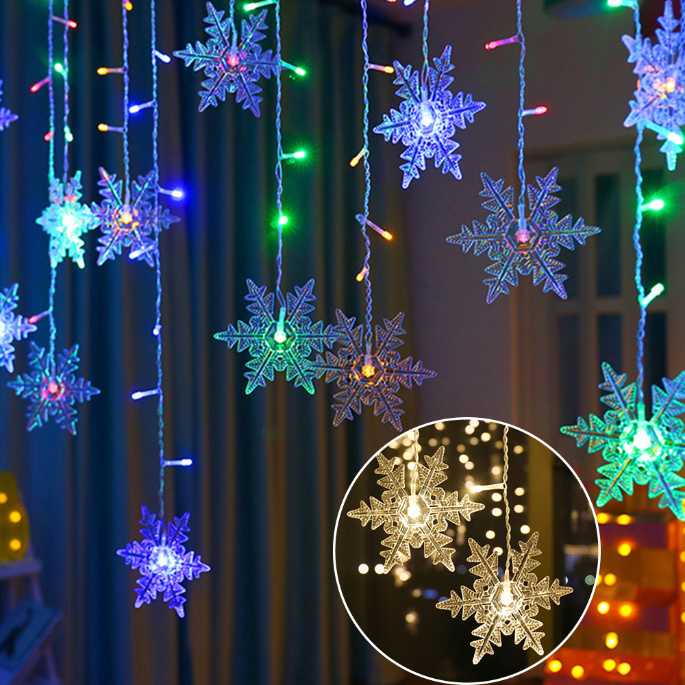 lowest price Outdoor Xmas Snowflake LED String lights Flashing Lights Curtain Light Waterproof Holiday Party Connectable Wave Fairy Light D30