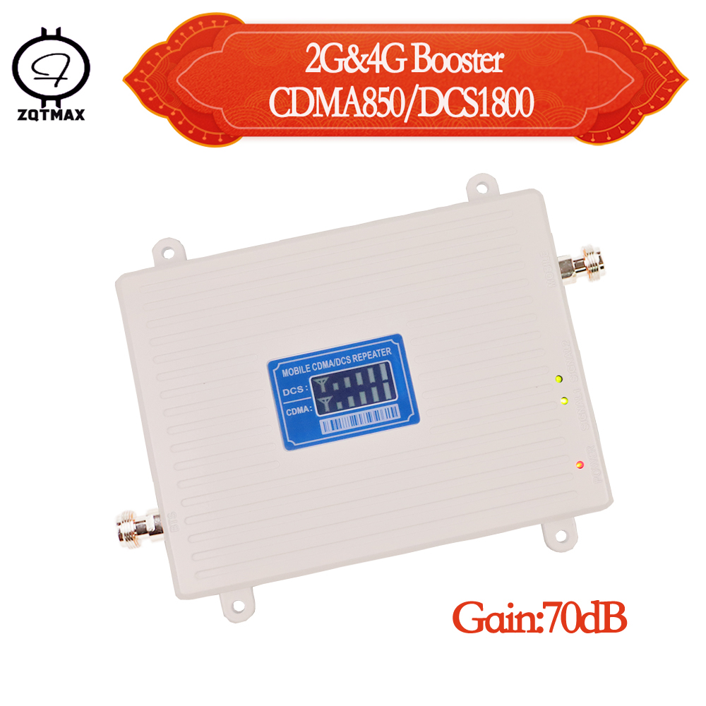 ZQTMAX 2G 4G Signal Booster 850 1800 Cell Phone Cellular Signal Amplifier Lte B5 B3 Repeater Dcs Cdma Dual Band