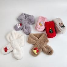 Детский шарф; милый детский шарф с аппликацией Санта-Клауса; зимний теплый модный плюшевый шейный платок для мальчиков и девочек; детский ветрозащитный шарф