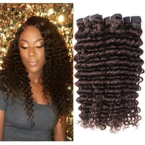 MOGUL волос глубокая волна человеческих волос пряди Цвет 2 темно-коричневого цвета на возраст от 10 до 24 дюймов, Remy (Реми), человеческие вплетаем...