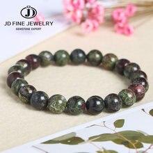Jd de alta qualidade redonda pedra natural dragão sangue pulseira cor verde dinossauro pedra contas jóias presente especial para homens