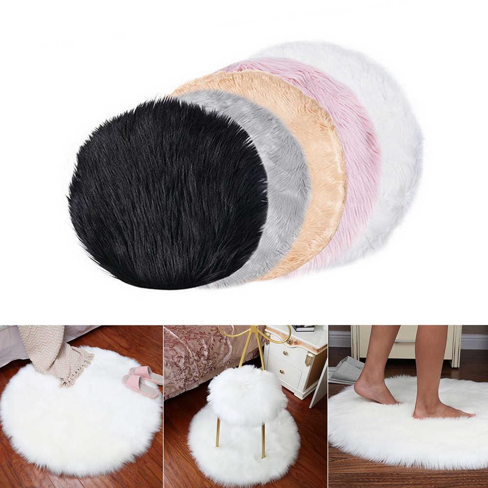 Urijk piel de oveja Artificial alfombra peluda Sala dormitorio alfombras piel y pelo liso esponjoso alfombras lavables dormitorio Faux Mat