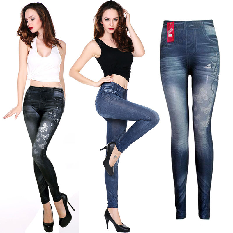 Women Denim Skinny Pant High Waist Stretch Jean Slim Pencil Trousers Lady Varietious Unique Style Jeans Butterfly Pentagram Pant