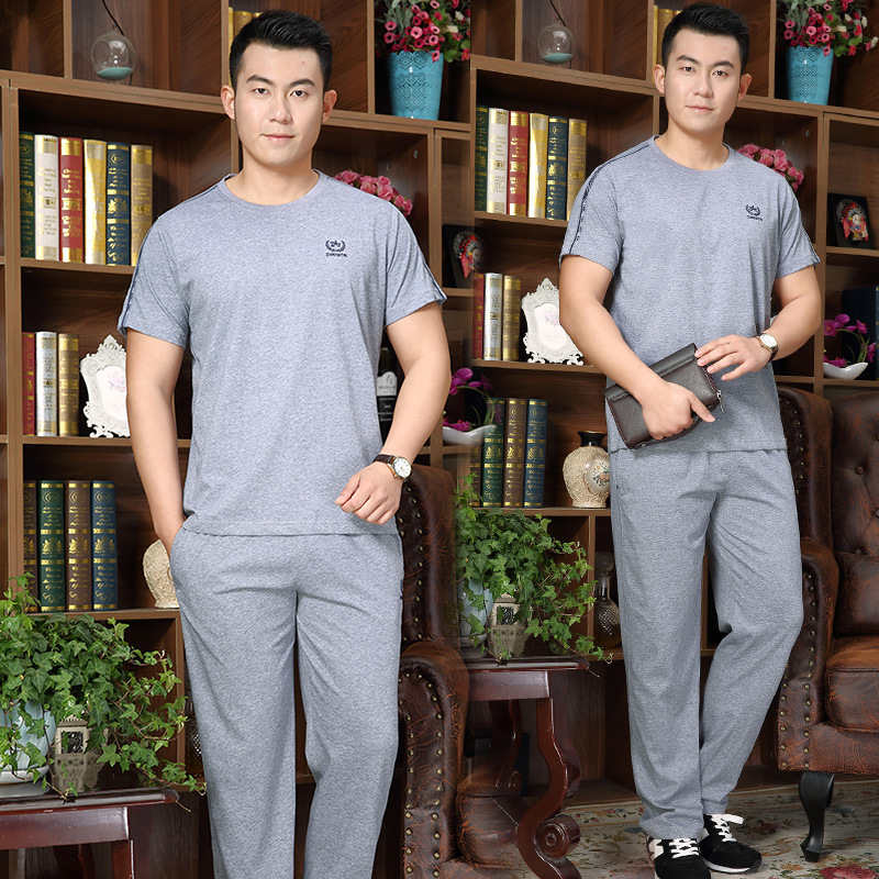 2020 Summer Wear New MEN'S Wear Leisure Sports Suit Large Size Loose-Fit Middle-aged MEN'S Short-sleeved T-shirt Long