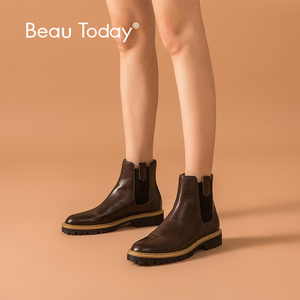 Image 1 - BeauToday Ankle Boots Women Calfskin Leather Chelsea Boots Mixed Colors Elastic Winter Ladies Shoes Thick Sole Handmade 03626