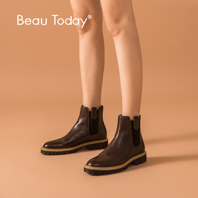 BeauToday Ankle Boots Women Calfskin Leather Chelsea Boots Mixed Colors Elastic Winter Ladies Shoes Thick Sole Handmade 03626