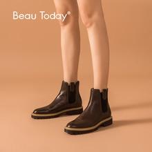 BeauToday Mắt Cá Chân Giày Bốt Nữ Da Bê Giày Chelsea Boot Màu Pha Trộn Thun Mùa Đông Nữ Đế Dày Làm Bằng Tay 03626