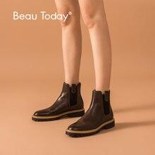 Beautoday 발목 부츠 여성 송아지 가죽 가죽 첼시 부츠 혼합 색상 탄성 겨울 숙녀 신발 두꺼운 단독 수제 03626