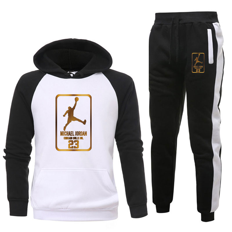 New  Brand Tracksuit Fashion 23 Men Sportswear Two Piece Sets All Cotton Fleece Thick Hoodie+Pants Sporting Suit Male